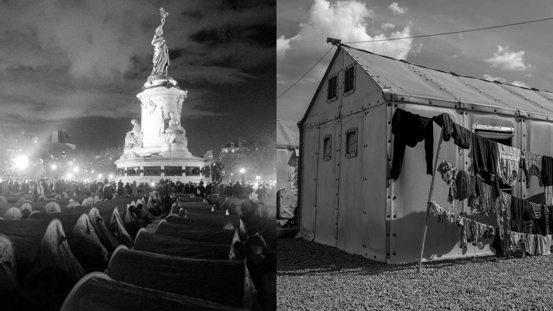 Foto montagem: acampamento temporário de estrangeiros em novembro de 2020 na Place de la République, em Paris, e abrigo Rondon II, em Boa Vista